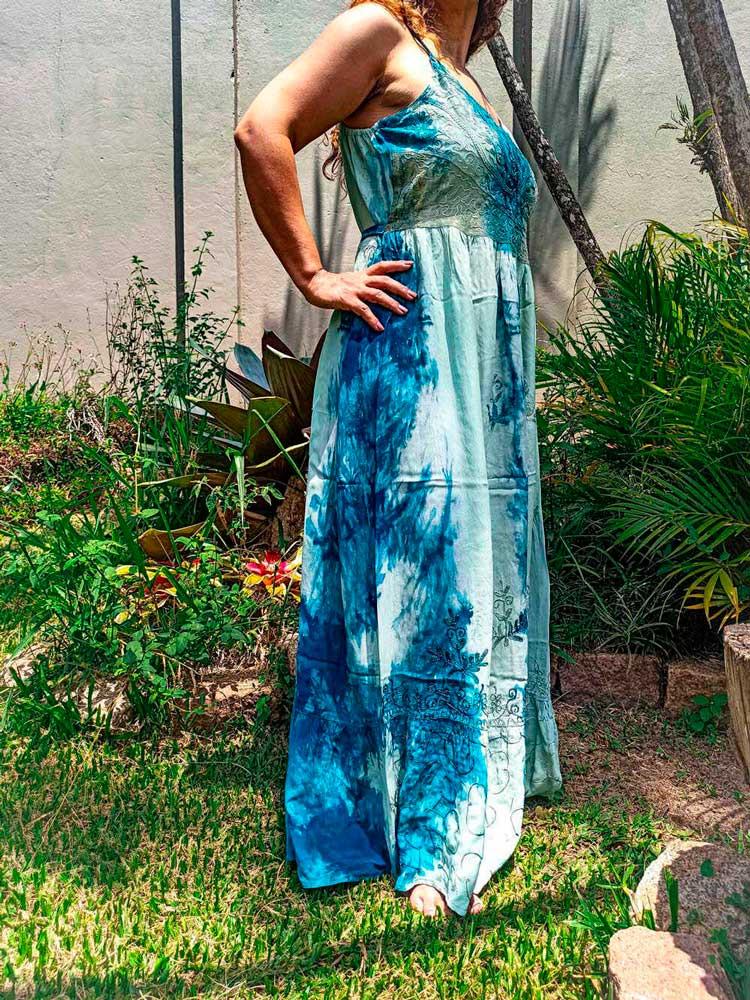 Vestido Indiano Longo Cigana Azul Premium