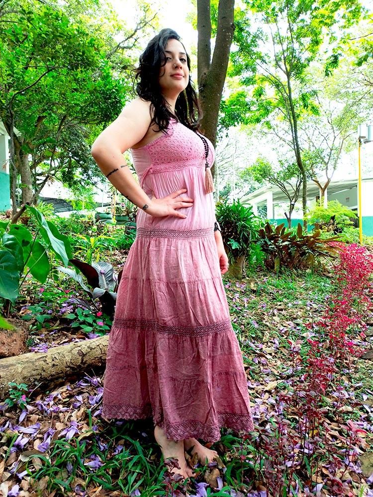Vestido Indiano Longo Cigana Rosa