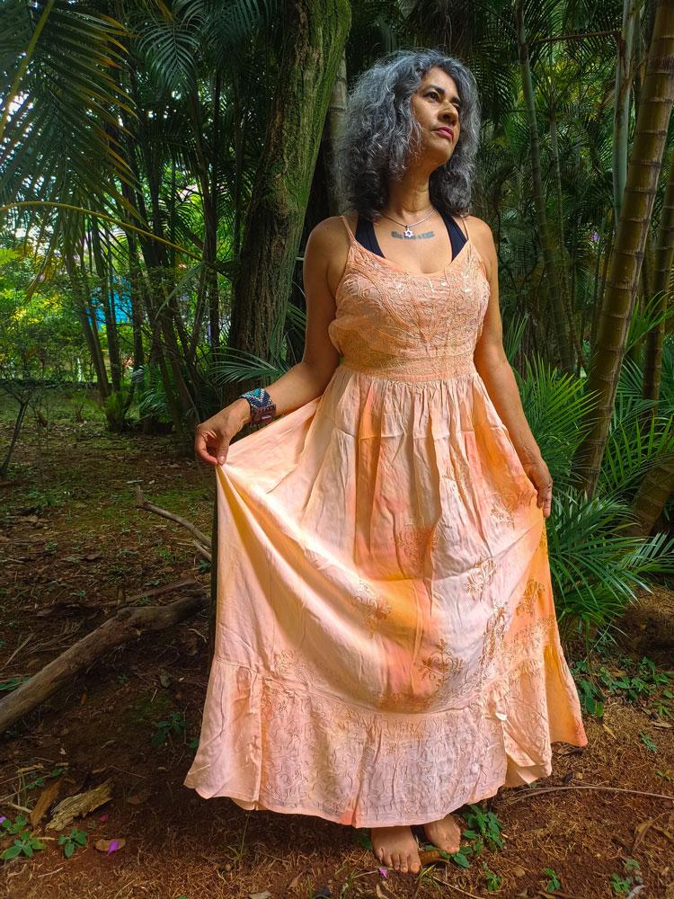 Vestido Indiano Longo Cigana Rosa Premium