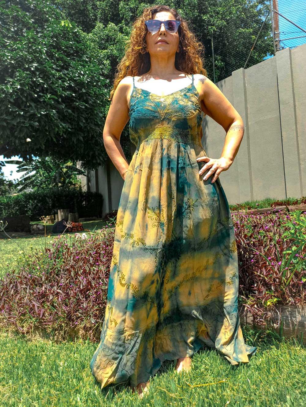 Vestido Indiano Longo Cigana Verde Premium