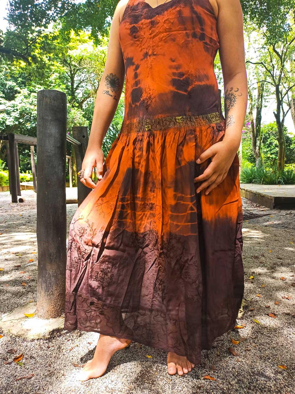 Vestido Indiano Longo Cigana Vermelho Premium