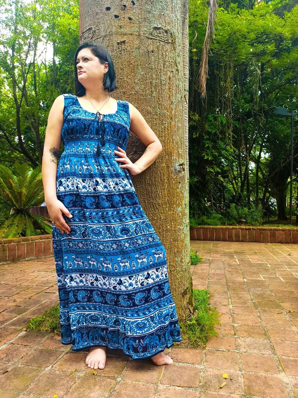 Vestido Indiano Longo Maia Azul