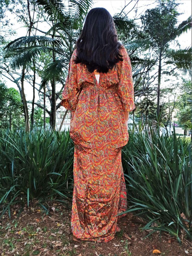 Vestido Indiano Longo Manga Oriental Fenda Seda Laranja Premium