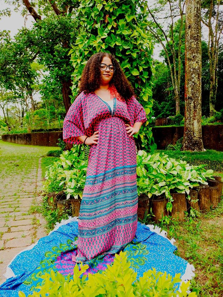 Vestido Indiano Longo Manga Oriental Fenda Seda Rosa