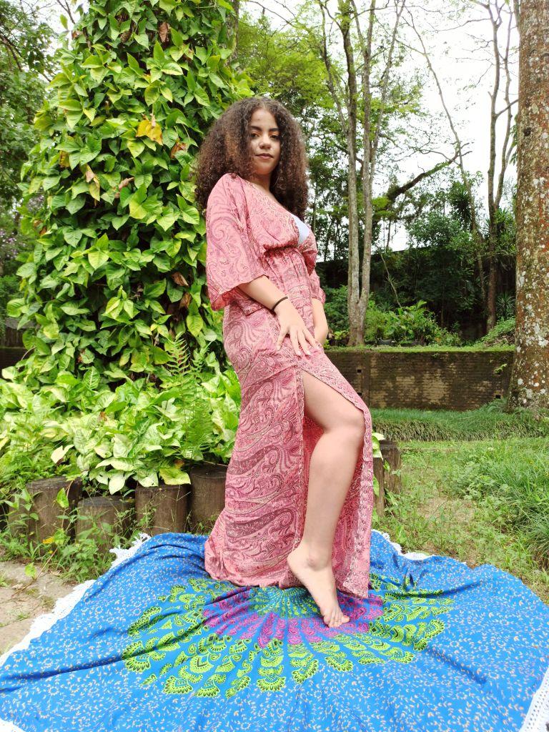 Vestido Indiano Longo Manga Oriental Fenda Seda Rosa Premium