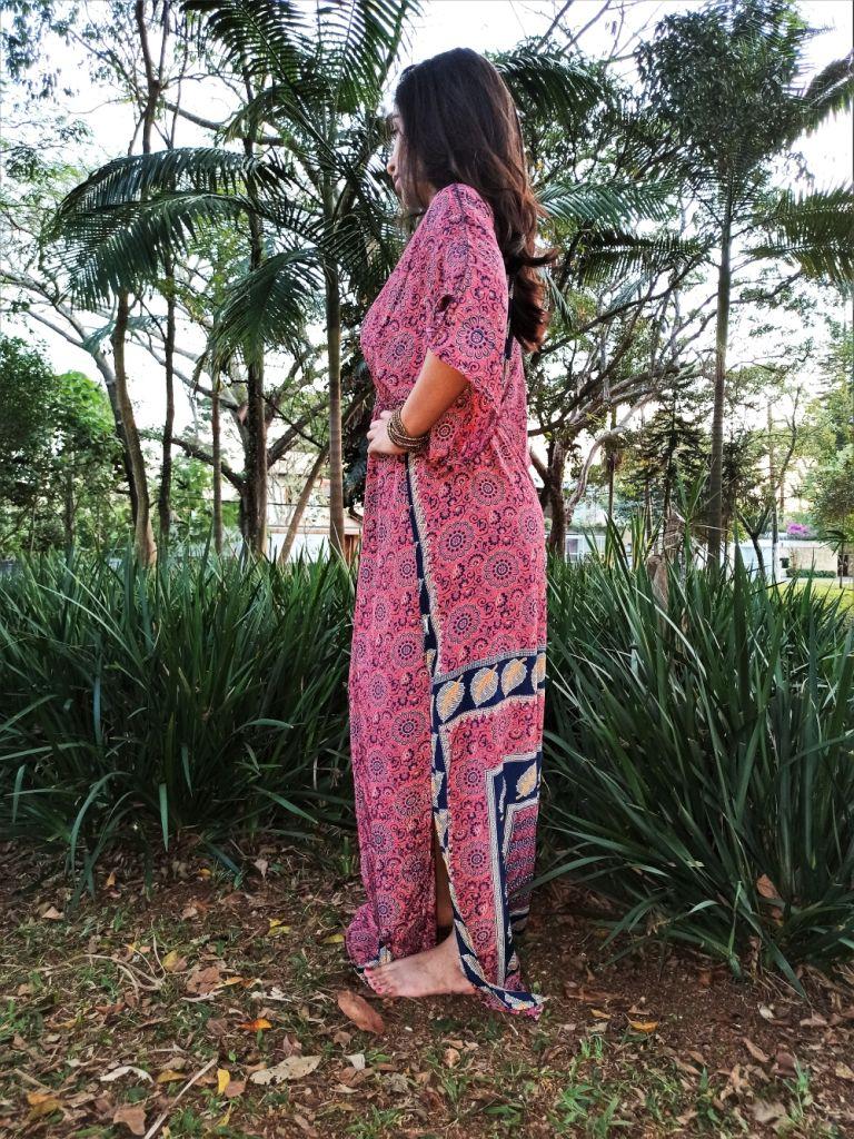 Vestido Indiano Longo Manga Oriental Rosa Fenda Seda Premium