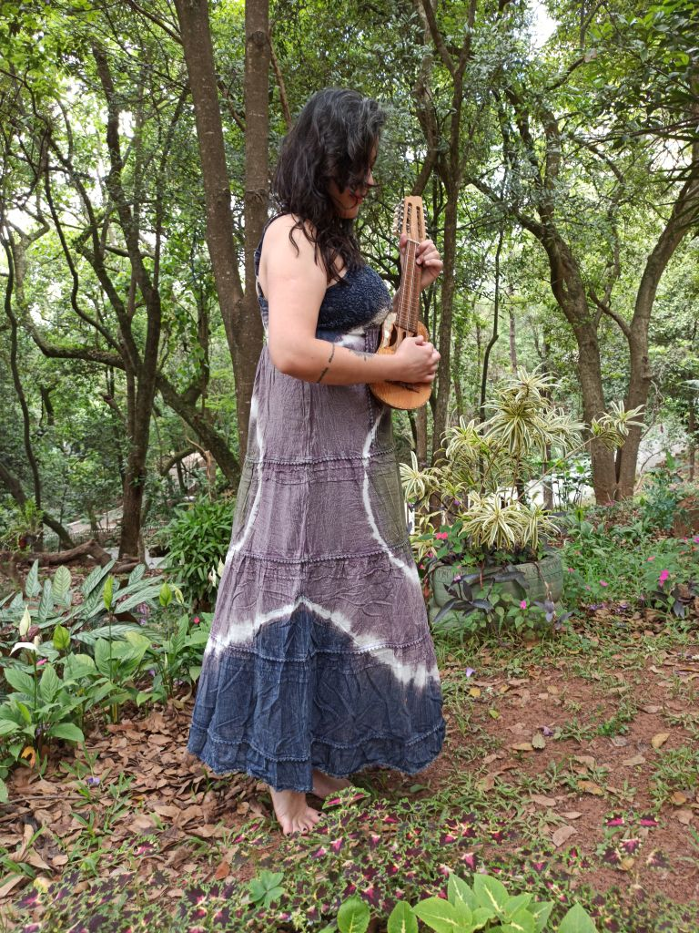 Vestido Indiano Longo Tie Dye Azul Premium