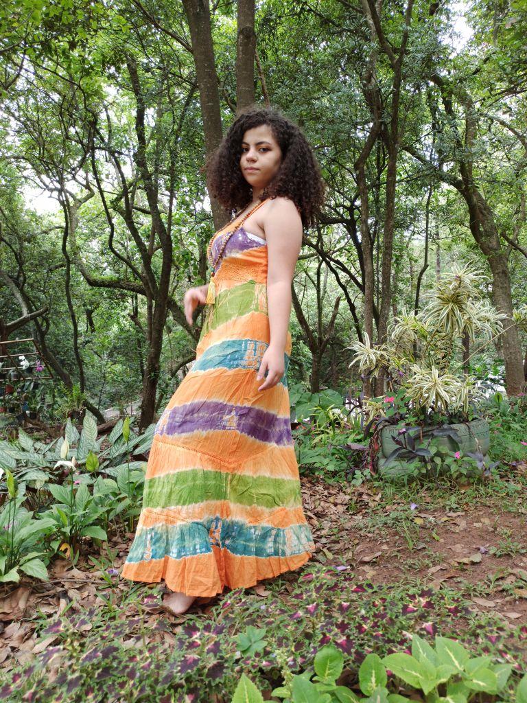 Vestido Indiano Longo Tie Dye Laranja Premium