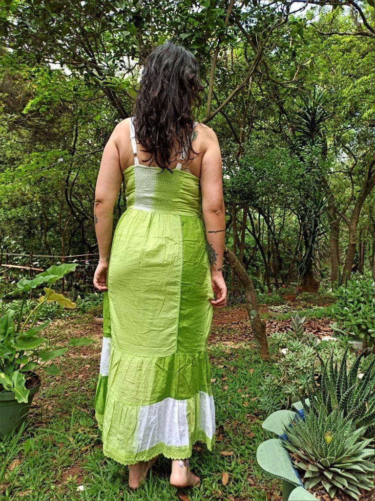 Vestido Indiano Longo Tie Dye Verde Premium