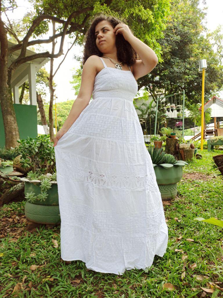 Vestido Indiano Longo Tradicional Branco Premium