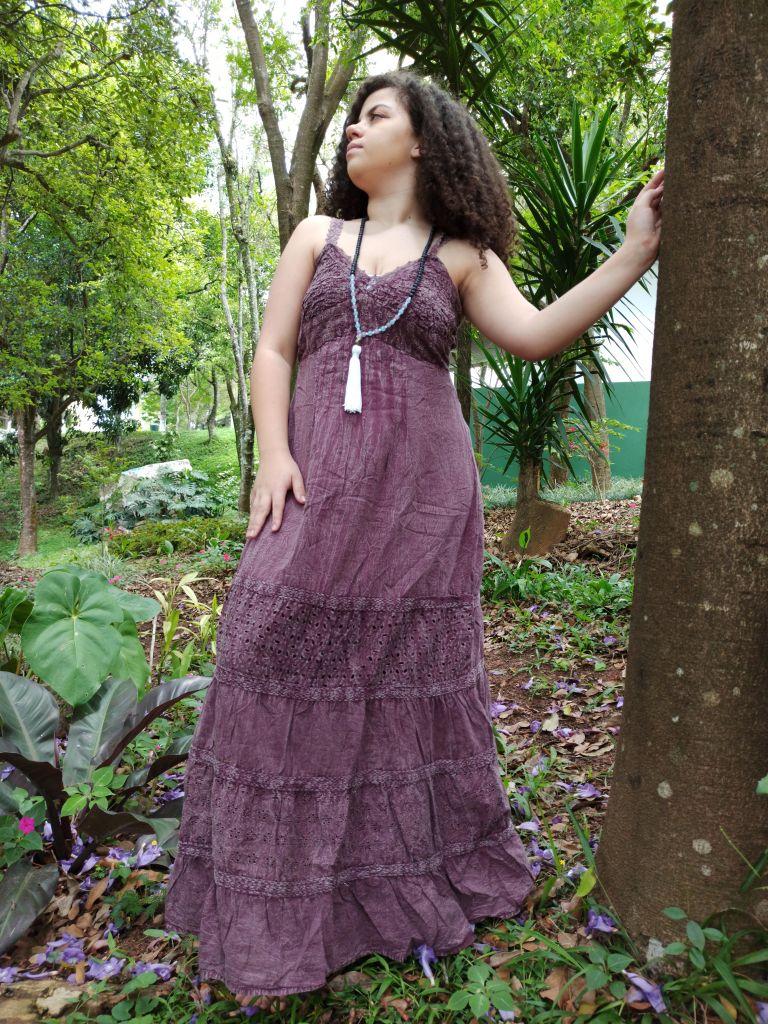 Vestido Indiano Tie Dye Goiaba Boho Premium