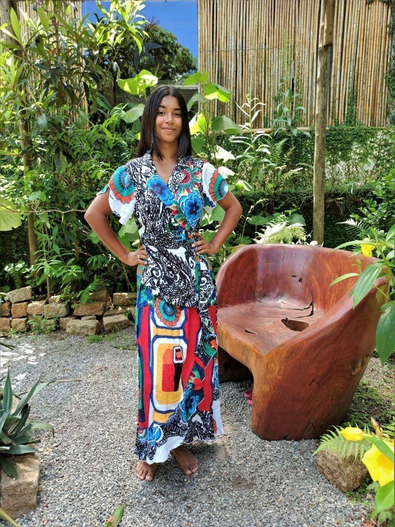 Vestido Indiano Transpassado Longo Azul Mandala