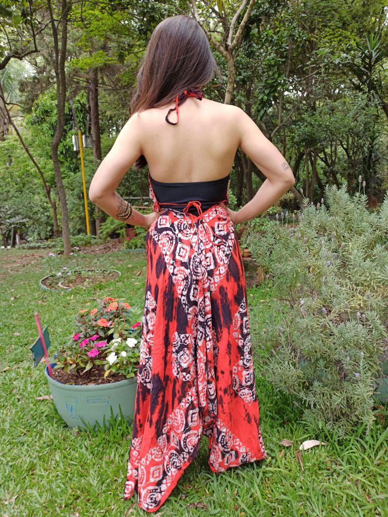 Vestido Indiano Vermelho Lenço Batik Longo Boho Premium