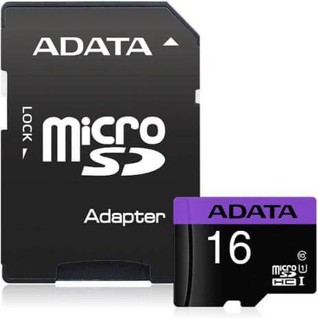 Cartão de Memoria Micro SD A-Data 16GB 1 Adptador Class 10