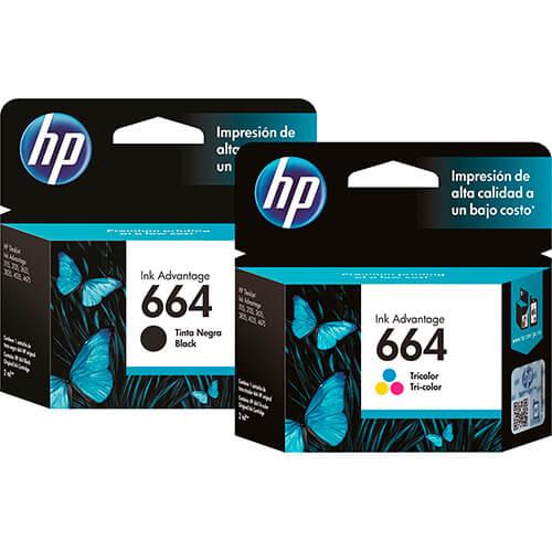 Cartucho de Tinta HP 664 Colorido/ Preto