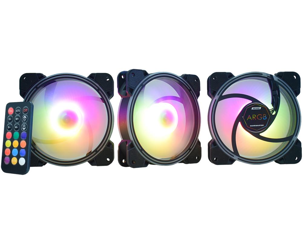 Kit 3 Cooler Fan RGB 120x120x25mm + Controle Remoto + Controlador - AK-AAE1