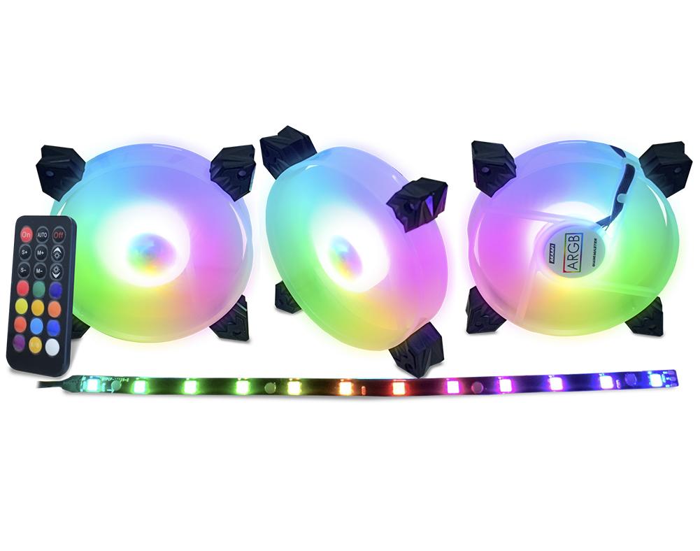 Kit 3 Cooler Fan RGB 120x120x25mm + Controle Remoto + Controlador + Fita de Led Kit AK-AAF1 Kmex