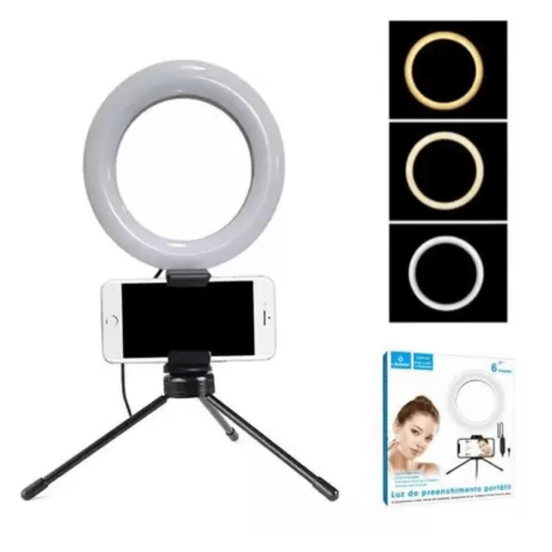 Ring Light 6 Polegadas + Tripe de Mesa e Suporte de Celular P/ Foto Video- LEHMOX