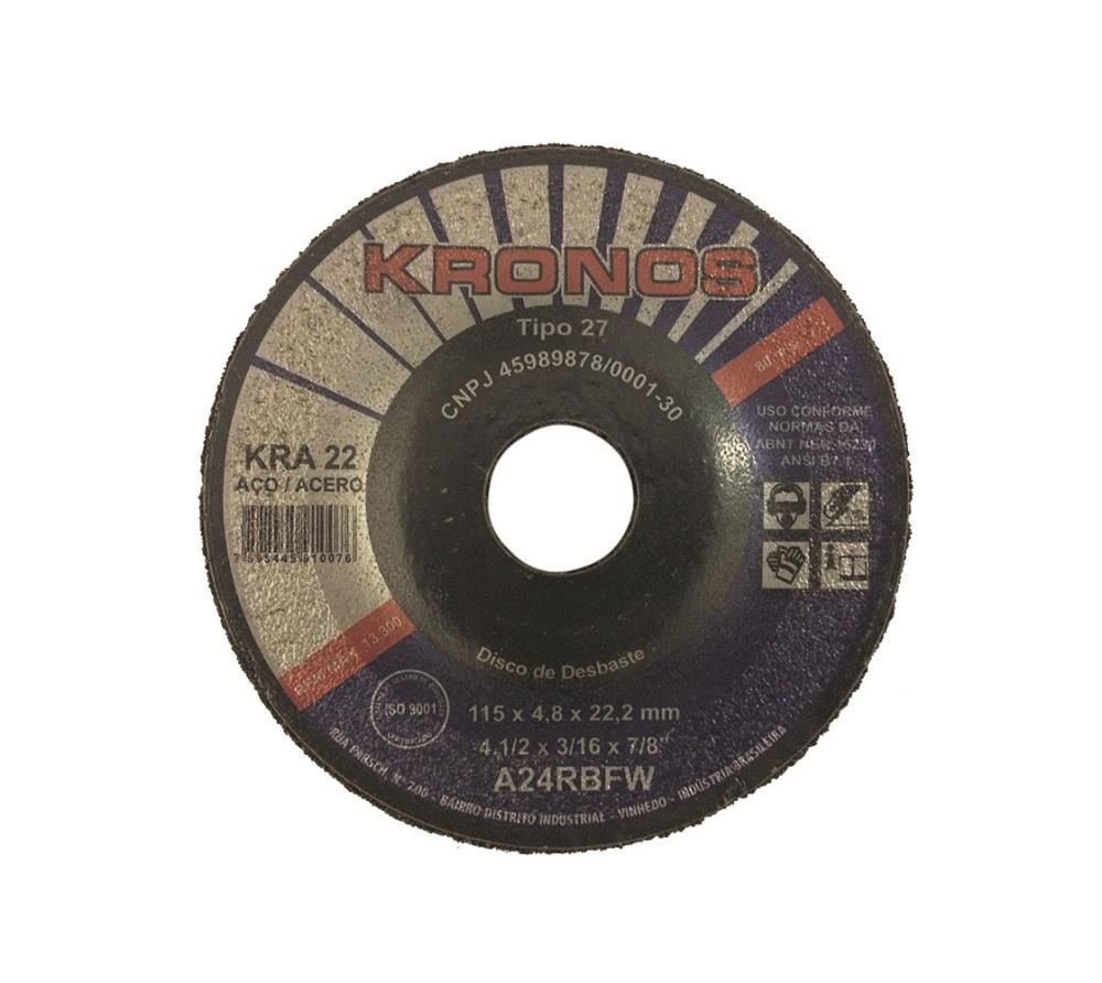 "Disco Desbaste Aco Carbono Kra 22 A24rbfw 4.1/2"" X 3/16 X 7/8"" 115 X 4.8 X 22.2mm"