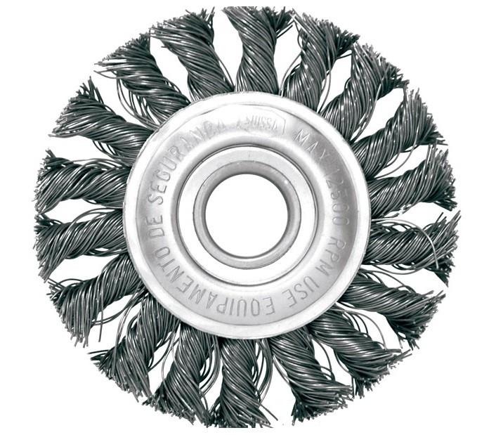 "Escova Circular Trancada Aco Carbono 4.1/2 X 1/4"""