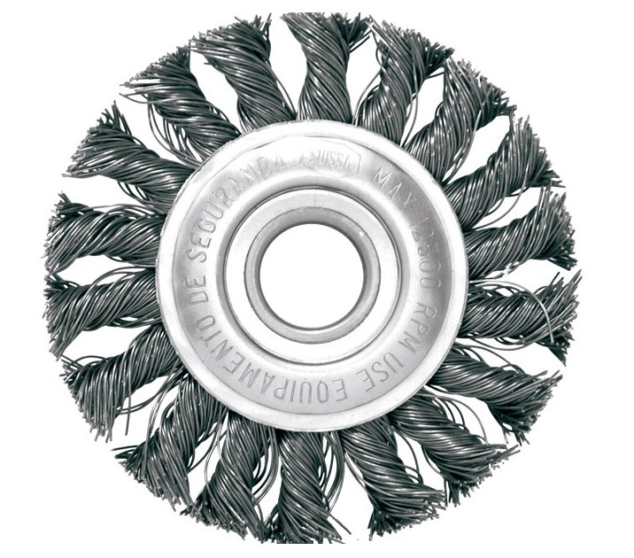 "Escova Circular Trancada Aco Carbono 7 X 1/4"""