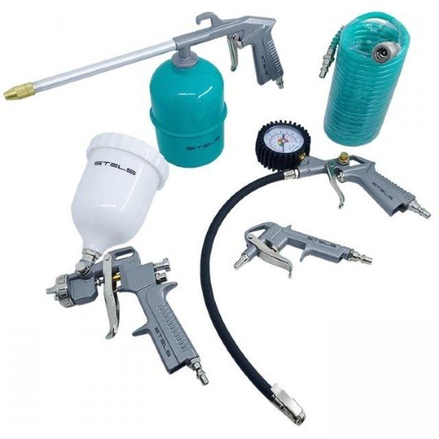 Jogo de Acessorios Pneumaticos 5 Peças C/pistola Gravitacional Encaixe 1/4 Npt