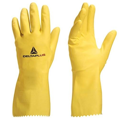 Luva de Proteção Latex Flocado Amarelo Tamanho 8