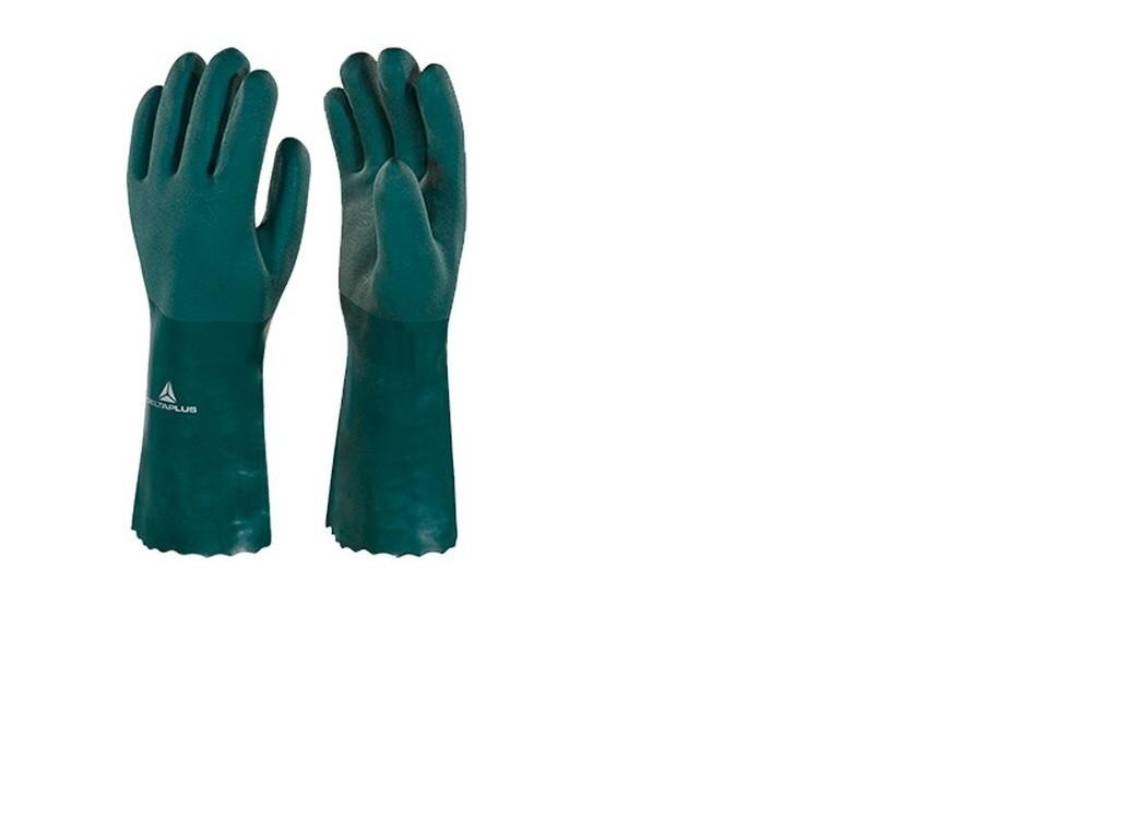 Luva Pvc Com Forro Algodão Verde Aspera 25cm -tamanho 9