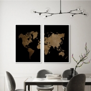 KIT 2 QUADROS DECORATIVOS  GOLDEN MAP