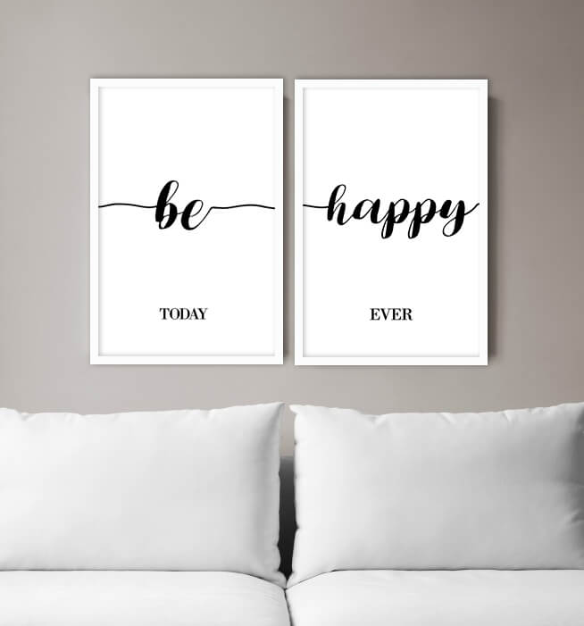 KIT 2 QUADROS DECORATIVOS BE HAPPY