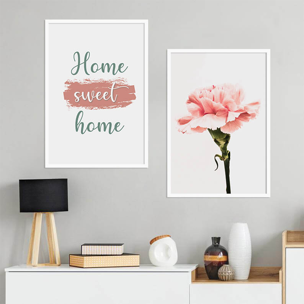 KIT 2 QUADROS DECORATIVOS HOME SWEET HOME