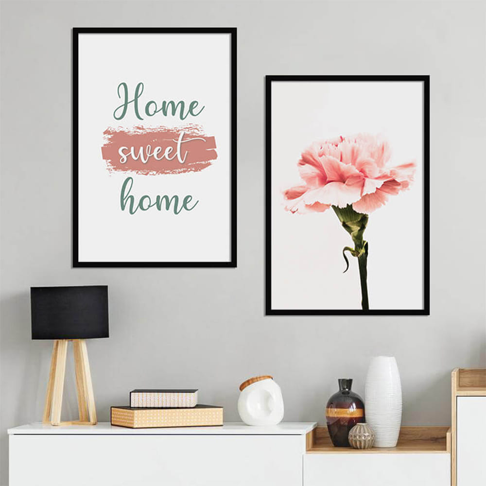 KIT 2 QUADROS DECORATIVOS HOME SWEET HOME
