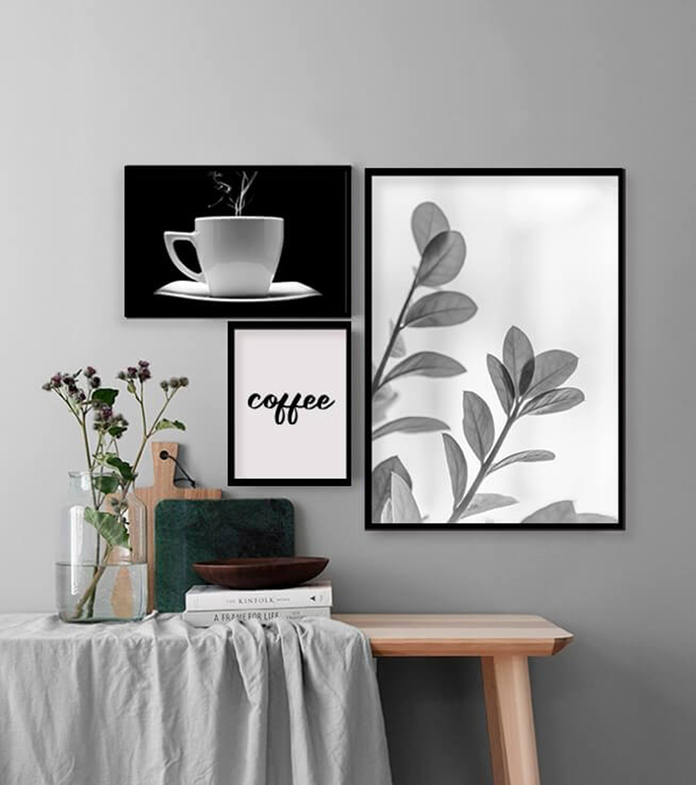 KIT 3 QUADROS DECORATIVOS  COFFEE