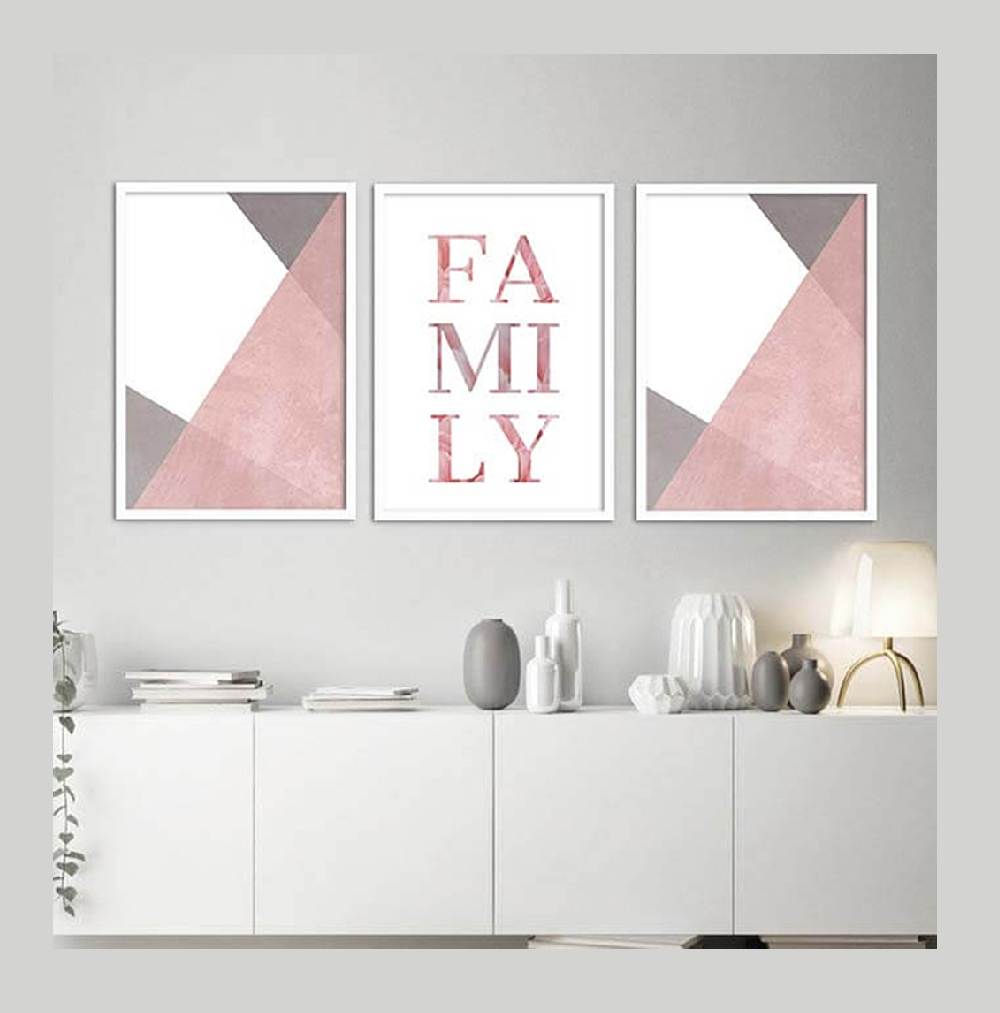 KIT 3 QUADROS DECORATIVOS  FAMILY