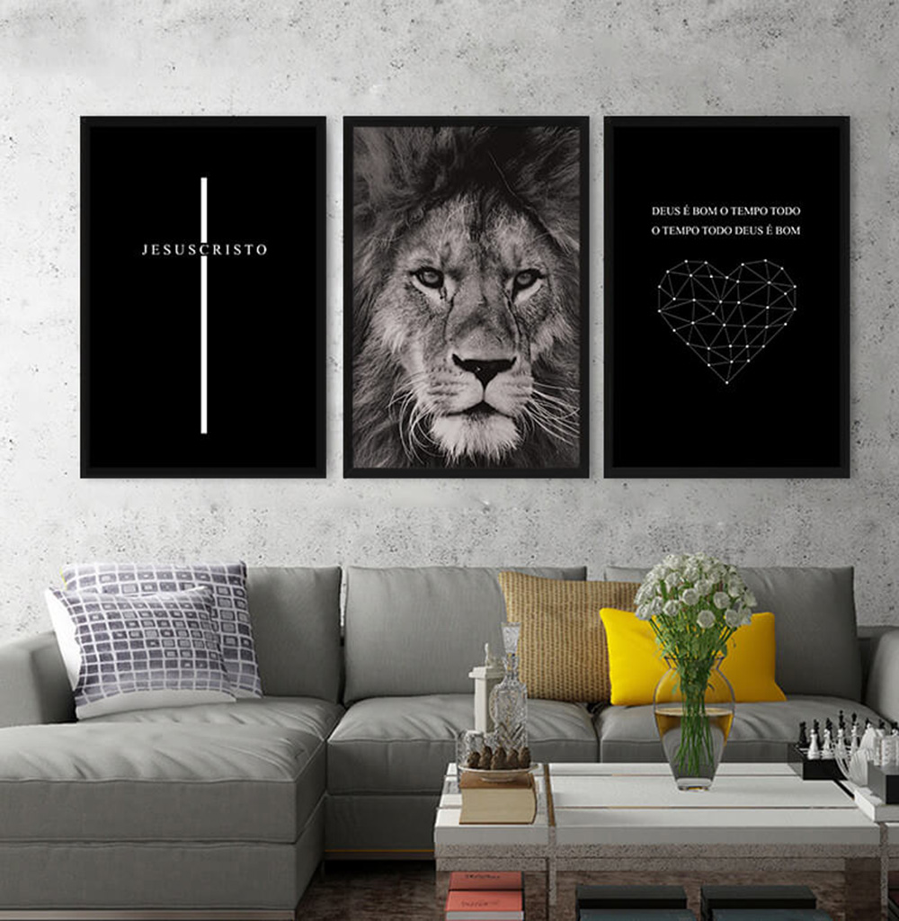 KIT 3 QUADROS DECORATIVOS JESUS CRISTO