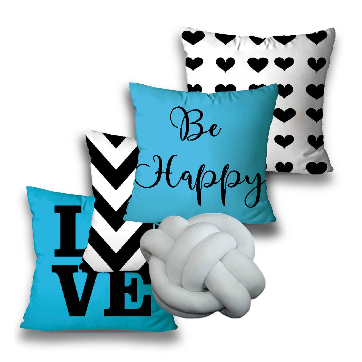 KIT 4 ALMOFADAS OU CAPAS + 1 NÓ BLUE LOVE
