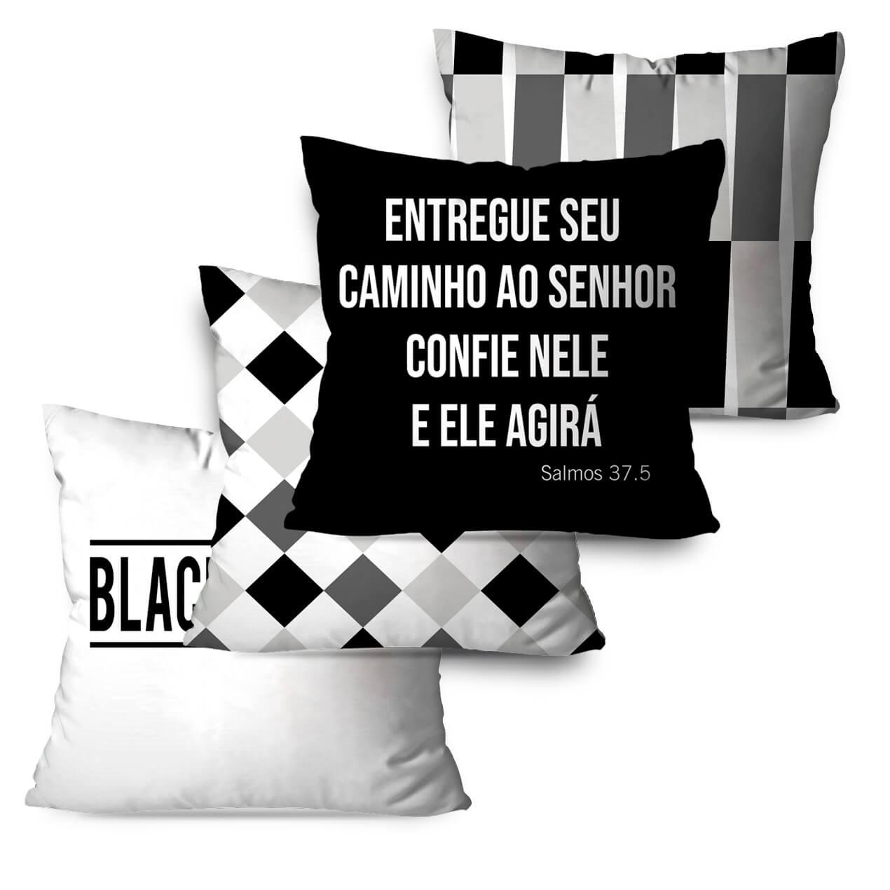 KIT 4 ALMOFADAS OU CAPAS BLACK AND WHITE