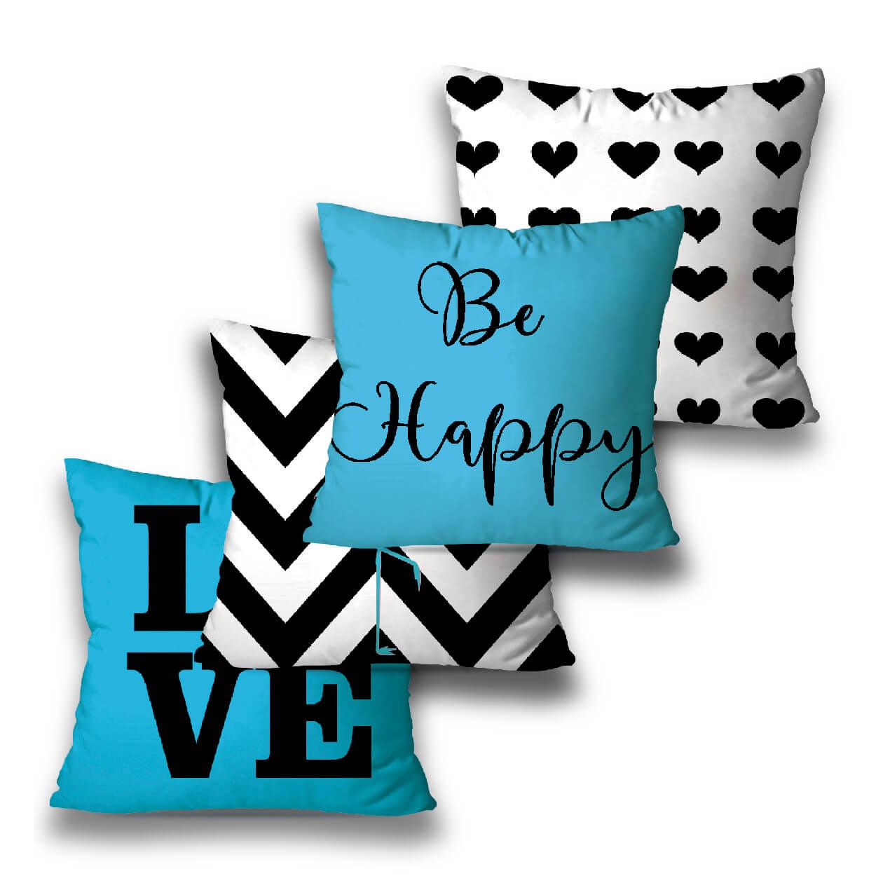KIT 4 ALMOFADAS OU CAPAS  BLUE LOVE