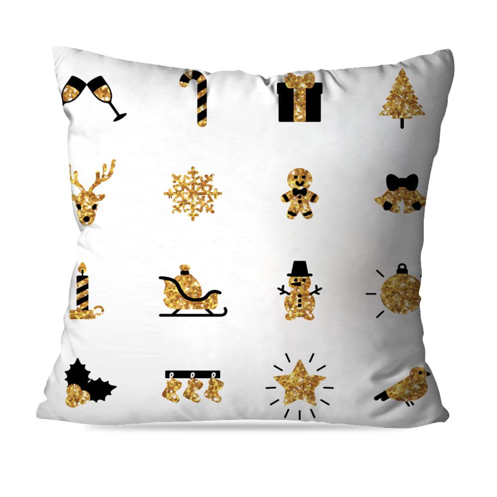 KIT 4 CAPAS DE ALMOFADAS DE NATAL GOLD CHRISTMAS