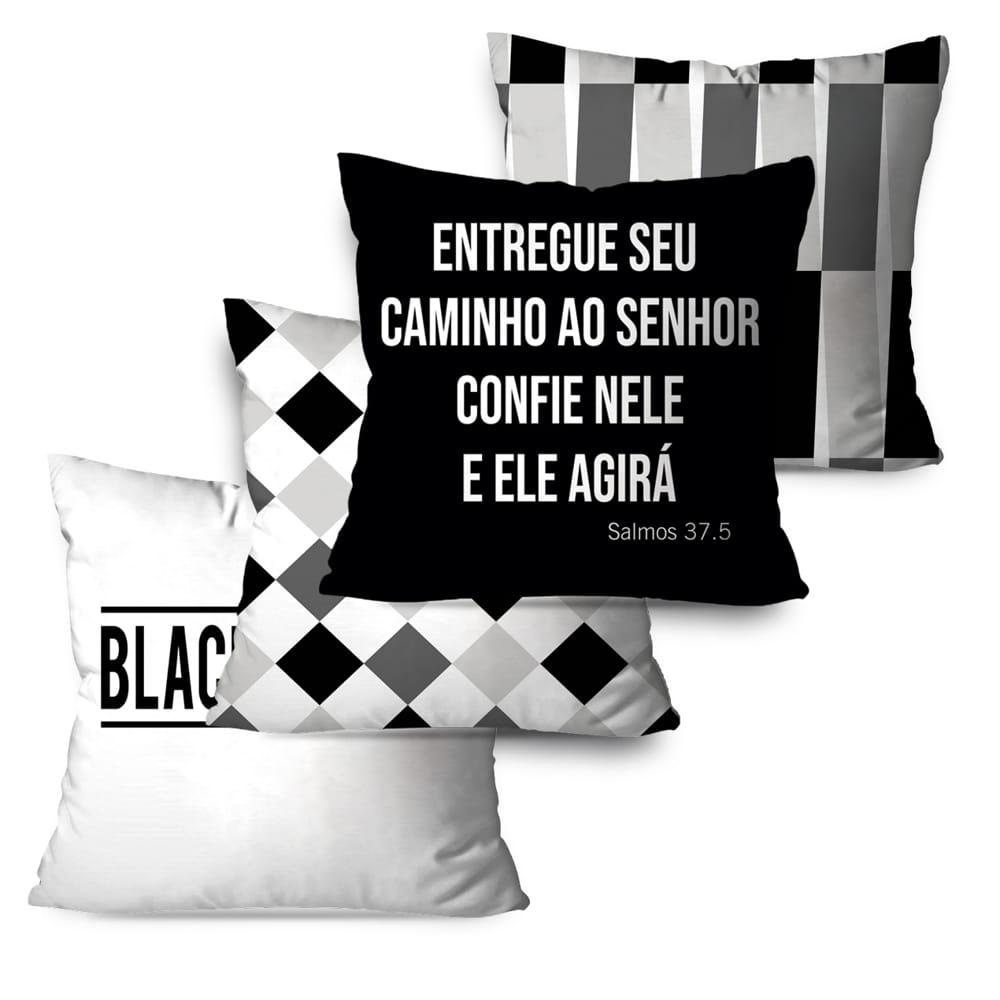 KIT 4 CAPAS DE ALMOFADAS PREMIUM BLACK AND WHITE