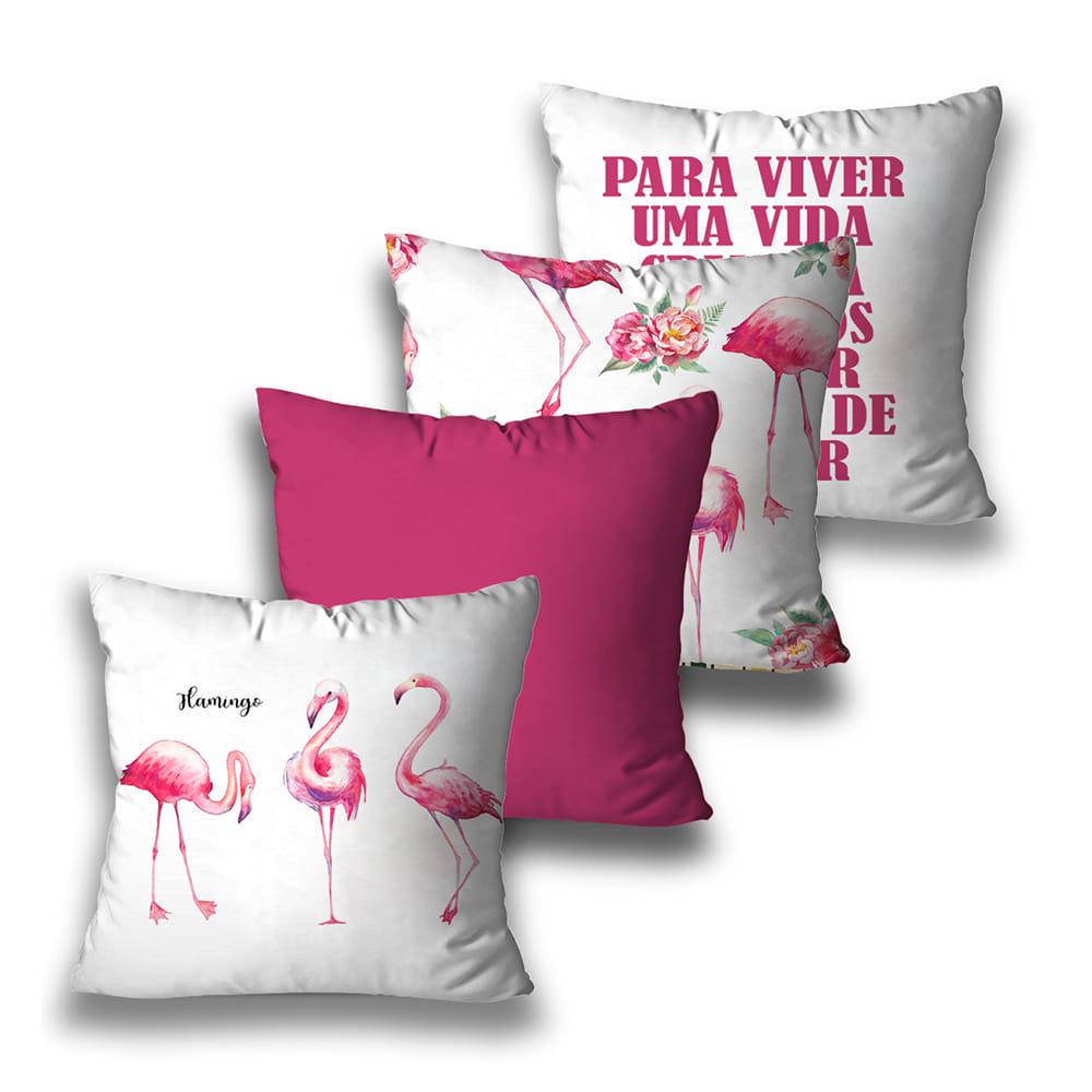 KIT 4 CAPAS DE ALMOFADAS PREMIUM PINK FLAMINGOS