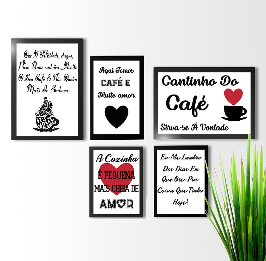 KIT 5 QUADROS DECORATIVOS CAFÉ LOVE