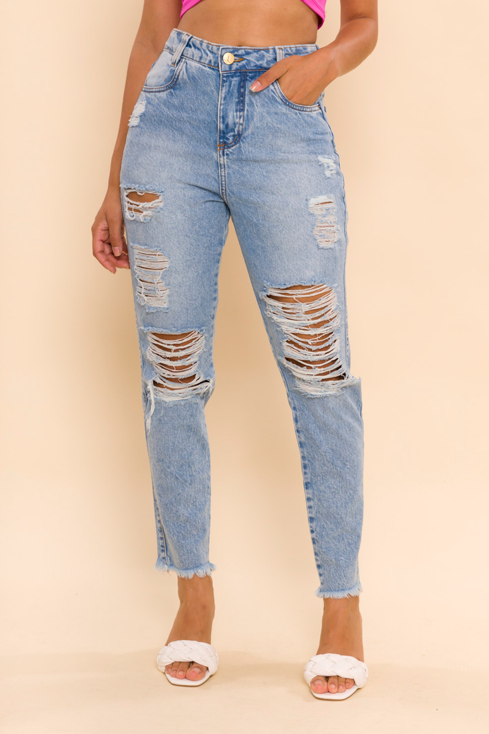 CALÇA JEANS CROPPED MOM HEIDI