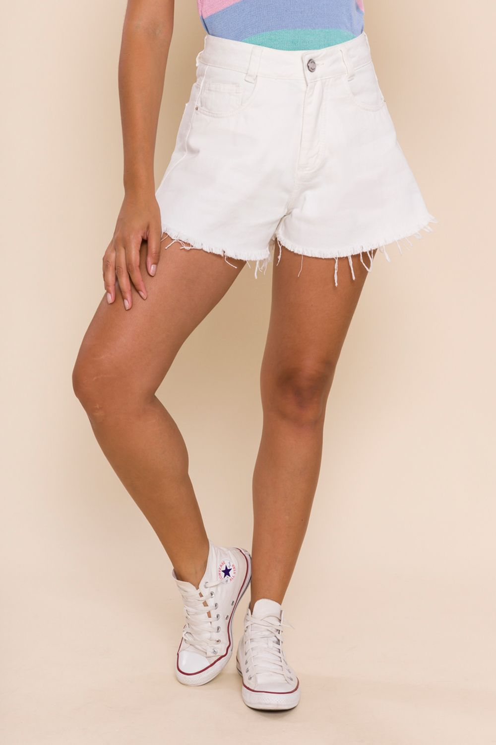 SHORTS SARJA GODÊ FRAN OFF WHITE