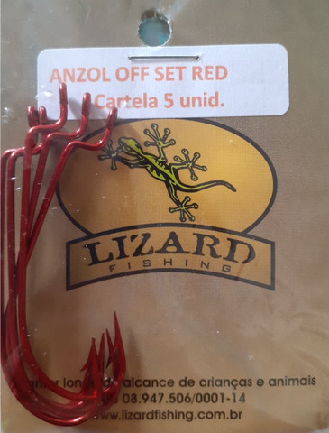 Anzol Lizard Eagle Claw off set red c/ 5 unid. 1/0 2/0 3/0