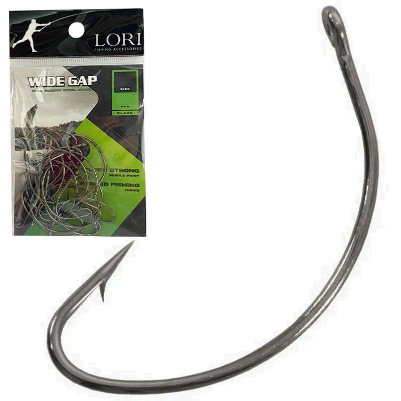 Anzol Lori Wide Gap Black #2 #4 e #6 Cartela com 25 unidades - Lori Fishing