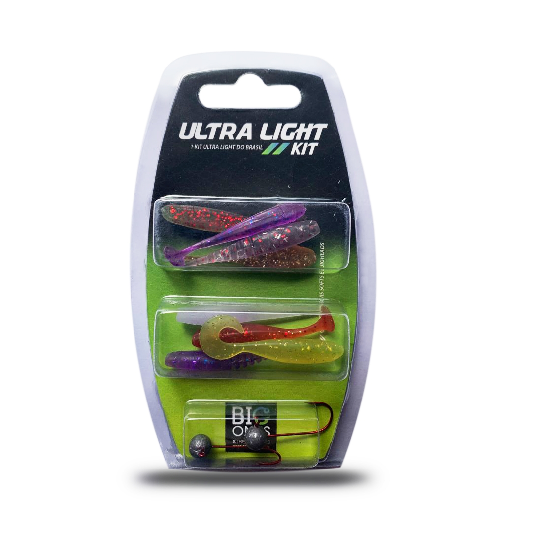 Kit Iscas Artificiais - Ultra Light Big Ones - Micro Shads - 8 Shads e 2 Jig Heads n.º 1