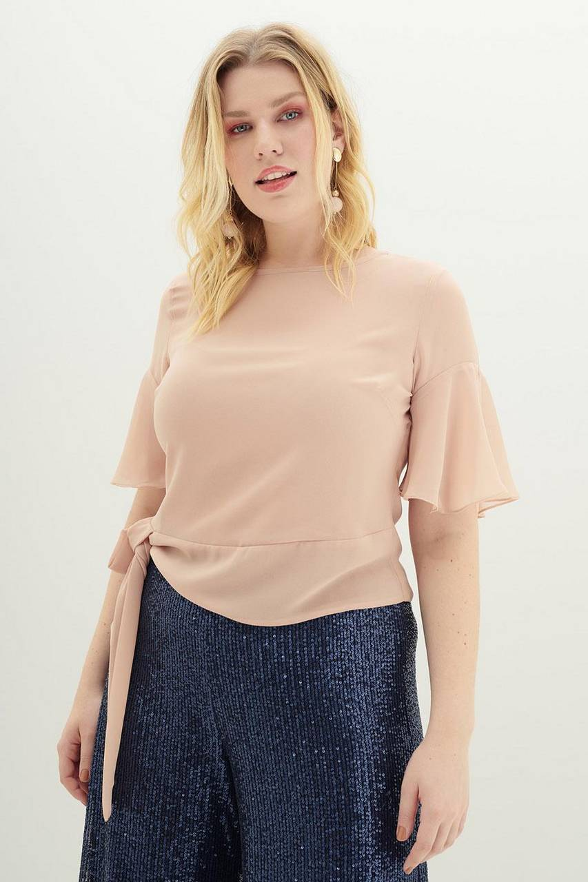 BLUSA AMARRACAO LATERAL MUSSELINE