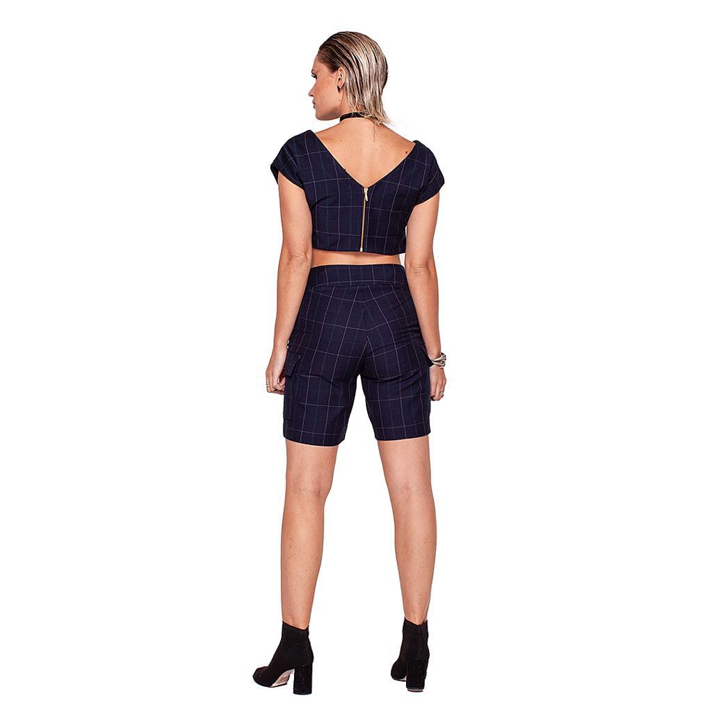 Shorts Checks Cintura Alta