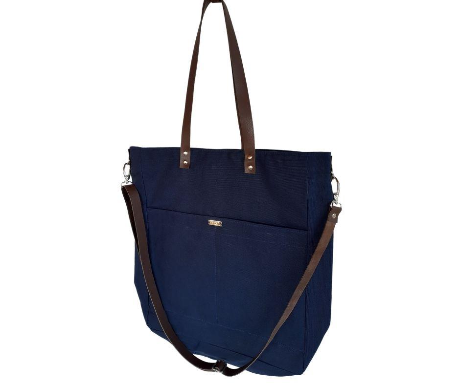 Bolsa azul marinho feminina de tecido